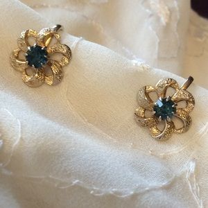 Vintage Earrings, clip on, gold with blue stones.